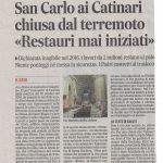 """San Carlo ai Catinari chiusa dal terremoto """"Restauri mai iniziati"""""""